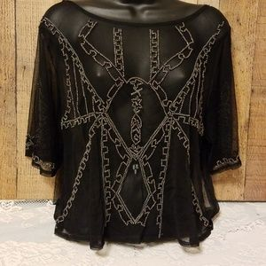 Abercrombie & Fitch Black Mesh Beaded Overlay Top